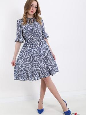 Kleid mit Volants mit Schleife Tiermuster