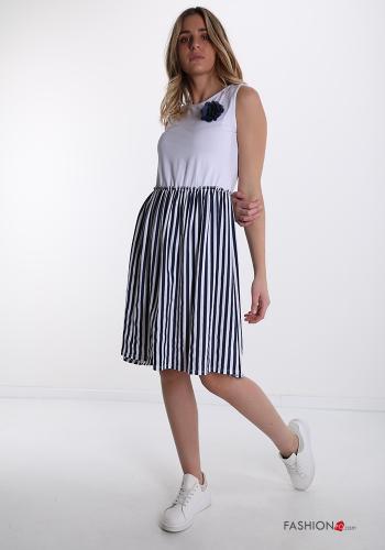 Kleiderrock aus Baumwolle mit Schleife -Gestreiftes Muster - Weiß