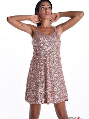 Kleiderrock mit Pailletten mit Riemen regulierbar - Beige