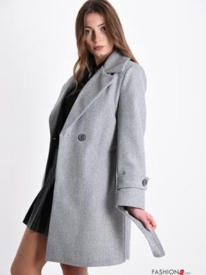 Mantel mit Gürtel mit Knöpfen mit Taschen - Grau Gr. M/L