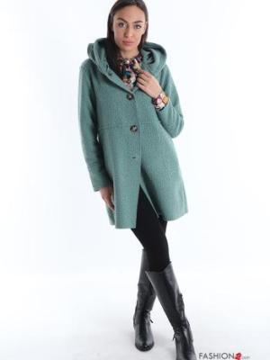Mantel mit Knöpfen mit Taschen mit Kapuze - Türkisgrün