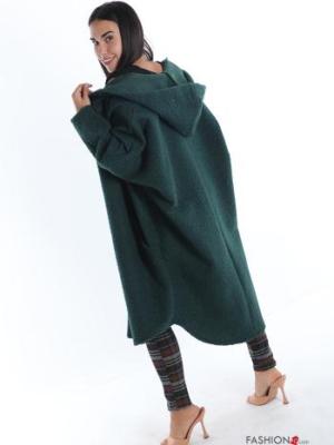 Mantel mit Taschen mit Fell mit Kapuze - Flaschengrün Übergröße