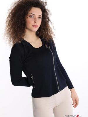 Sweatshirt mit Taschen mit Reißverschluss - Blau- Gr. S/M