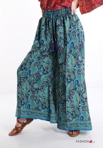 Hosenrock aus Seide Ornamente Muster - Himmelblau