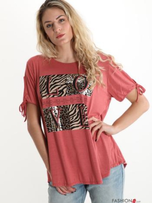 Italy Rundhals-Shirt mit Leoprint - Gr. L/XL