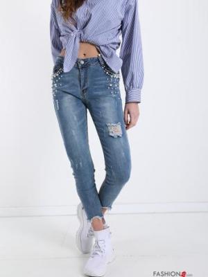 Jeanshose aus Baumwolle mit Perlen - Blau