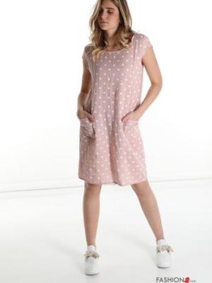 Kleid aus Leinen mit Taschen getüpfelt Muster - Rosa