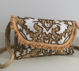 """Rattan Handtasche mit Pailletten """"Ornamente"""" -Handmade -"""