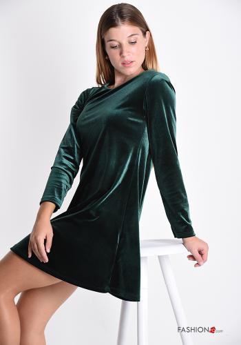 Kleid Samt - Smaragdgrün