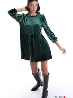 Kleid Samt - Leuchtend grün