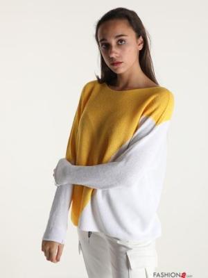 Strickpullover aus Baumwolle Geometrisches Muster - Gelb