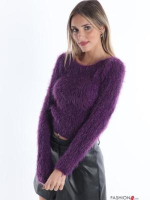 Strickpullover aus Wollmischung - Violett