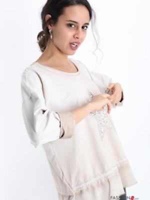 Sweatshirt aus Baumwolle mit Pailletten - Beige