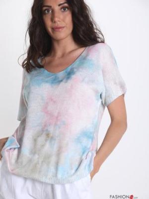 T-shirt V-Ausschnitt Farbiges Muster - Weiß