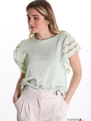 T-shirt aus Baumwolle Spitze - Hellgrün