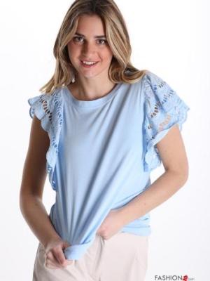 Italy T-Shirt mit Spitze und Rüschen an den Ärmeln- Hellblau-
