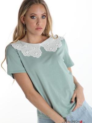 Italy T-shirt aus Baumwolle mit Lochstickerei-Kragen - Türkisgrün