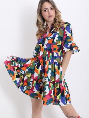 Kleid aus Baumwolle mit Volants-Tarnmuster - Smaragdgrün - Italy