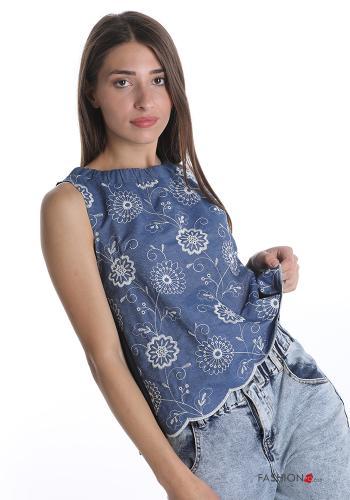 Top aus Baumwolle Besticktes Muster - Blau