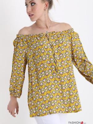 Bluse mit Schleife Geometrisches Muster - Senffarben