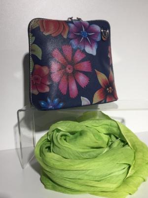 Leder Umhängetasche Vera Pelle mit großem Blumen-Print