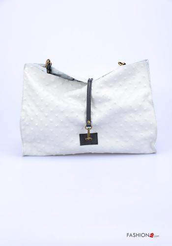 Ledertasche Italy Style mit Reißverschluss mit Schultergurt - Weiß -