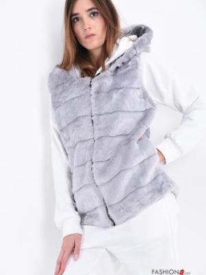 Weste mit Reißverschluss mit Fell mit Kapuze Gestreiftes Muster - Grau