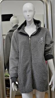 Trendy kurze Wolljacke - grau - Gr. M/L