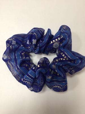 Scrunchie Haargummi Haar-Styling-Accessoire Indisch Glitzer Gold Blau