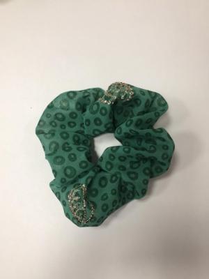 Scrunchie Haargummi Haar-Styling-Accessoire Grün Kreise Pailletten