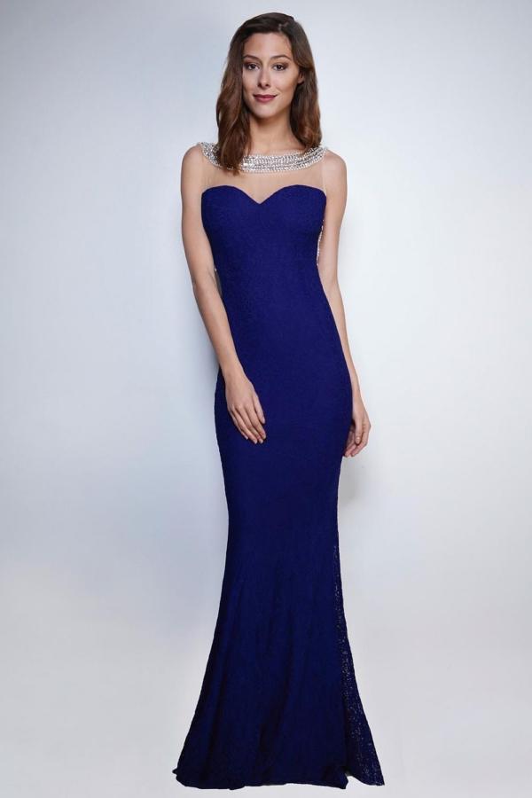 Maxi Abendkleid in Marineblau