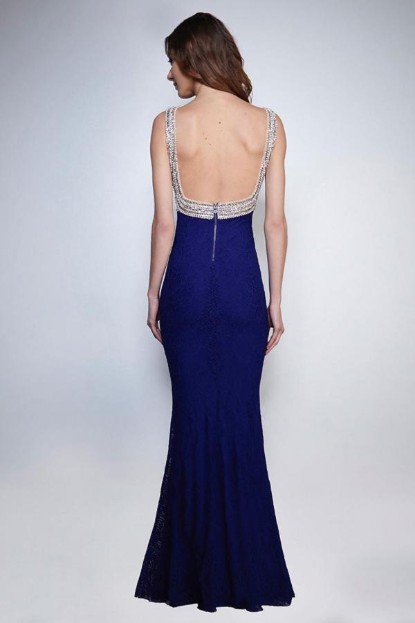 Langes Abendkleid marineblau