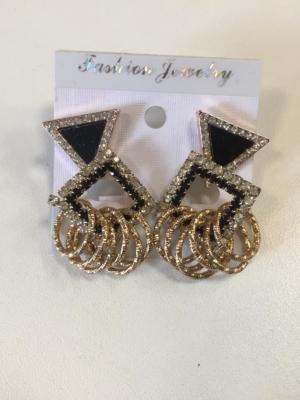 Opulente Ohrringe Schwarz- Gold mit Strassteinen