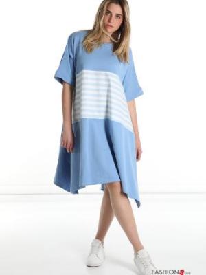 Kleid mit Streifenmuster aus Baumwolle - Himmelblau -